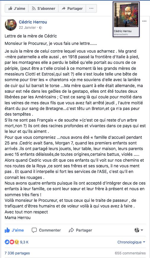 Lettre de la mère de Cédric Herrou