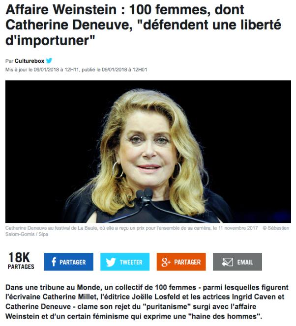 """Affaire Weinstein : 100 femmes, dont Catherine Deneuve, """"défendent une liberté d'importuner"""""""