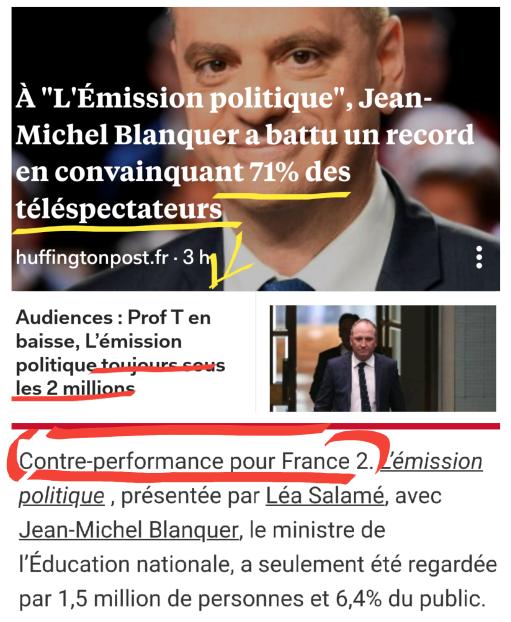 JM Blanquer Emission Politique