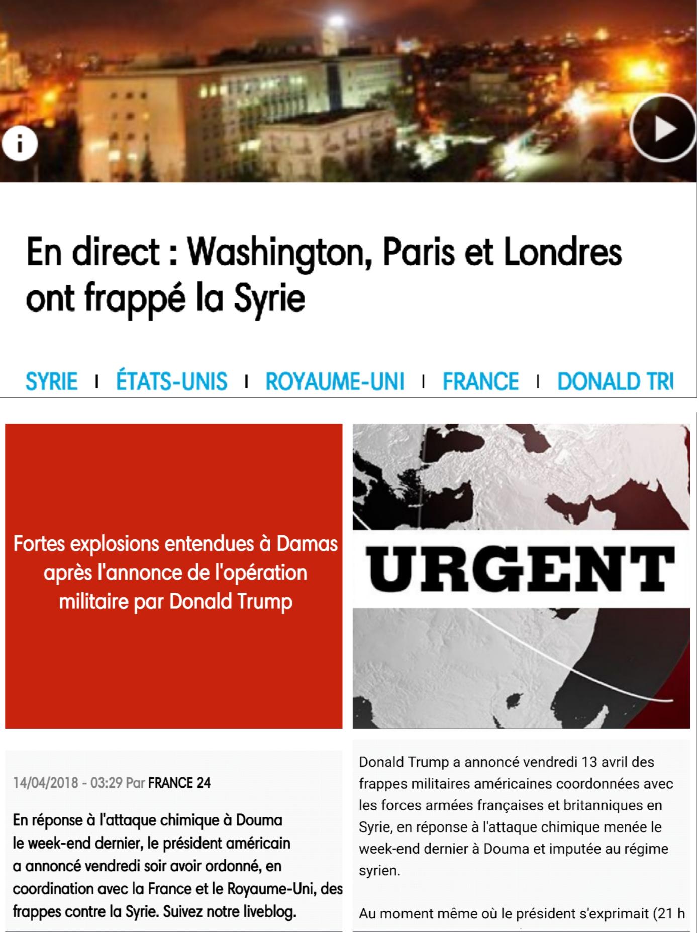 BreakingNews: Washington, Paris et Londres ont frappé la #Syrie. À suivre, la « riposte » de #Moscou. Cette fois