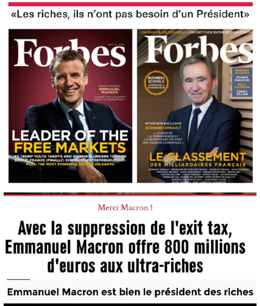 Exit tax Macron Président des riches Forbes Bernard Arnaud