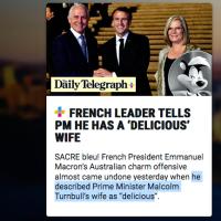 """Incident diplomatique? E. #Macron épinglé en """"Pépé le Putois"""" dans la presse Australienne."""