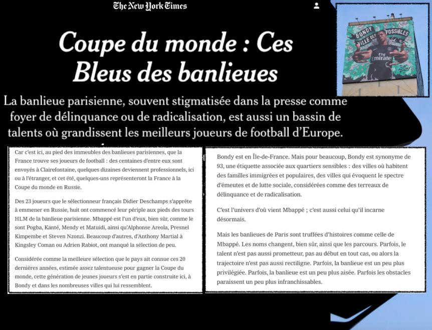 Bleus Banlieue Coupe du Monde NewYork Times Bondy