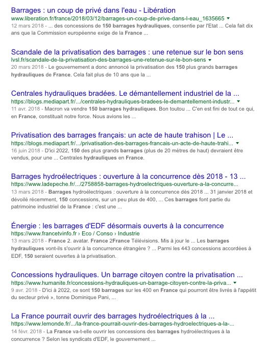 Barrages Hydrauliques en France Privatisation