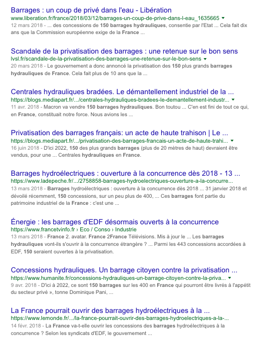 Barrages Hydrauliques en France Privatisation