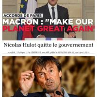 N. #Hulot ayant chanté #MakeOurPlanetGreatAgain avec Macron se trouve fort dépourvu quand (..), puis il démissionna ...