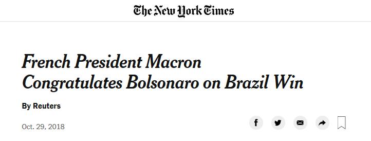 Bolsonaro Brazil Macron NYTImes