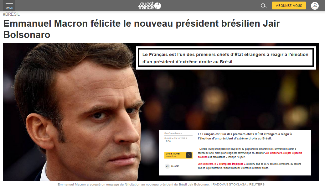 MAcron félicite Bolsonaro Brésil extrême droite