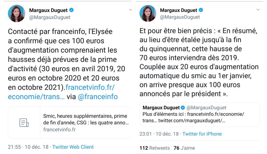 Annonces Macron Gilets jaunes 20heures TF1 100 euros