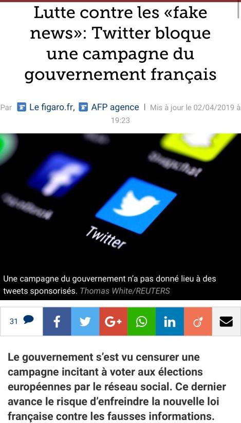 Lutte contre fakenews Twitter bloque le gouvernement Macron