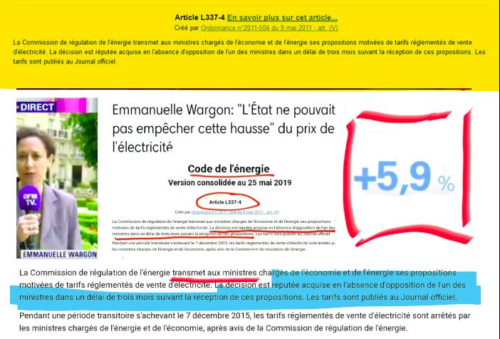 Hausse Prix electricité juin 2019 Wargon