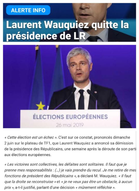 Laurent Wauquiez Démission Les Républicains