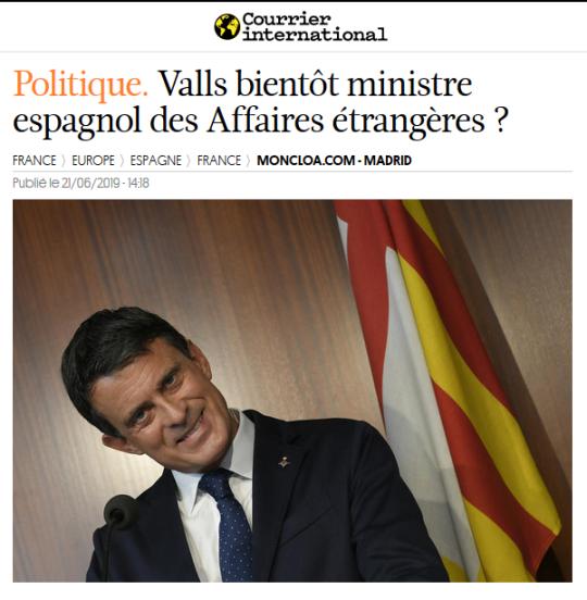 Manuel Valls Ministre Espagnol Espagne