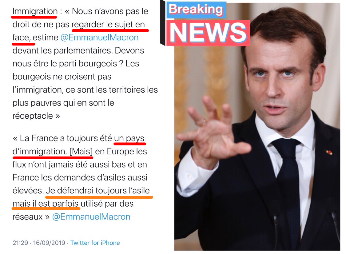 Macron immigration Savini Migrants