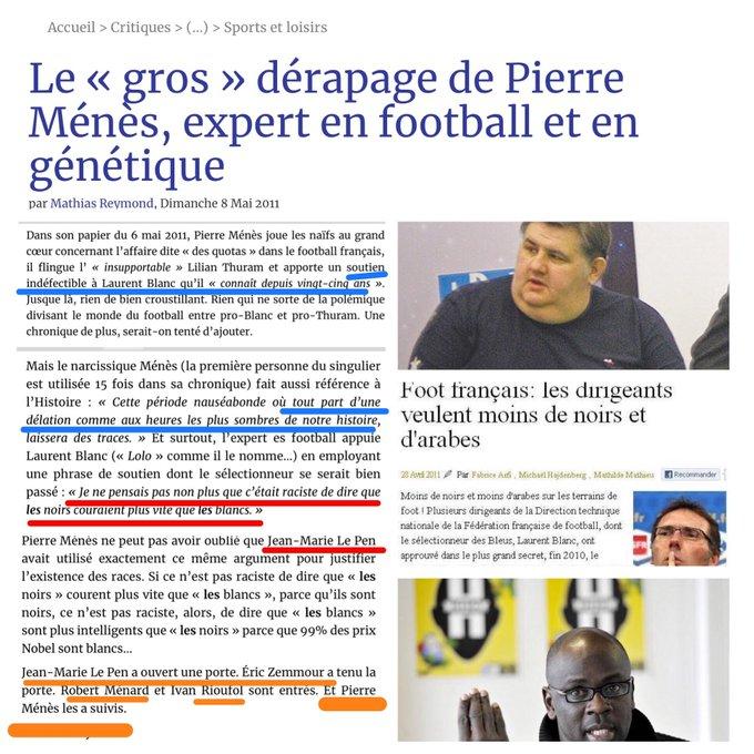 Pierre Menes racisme blanc