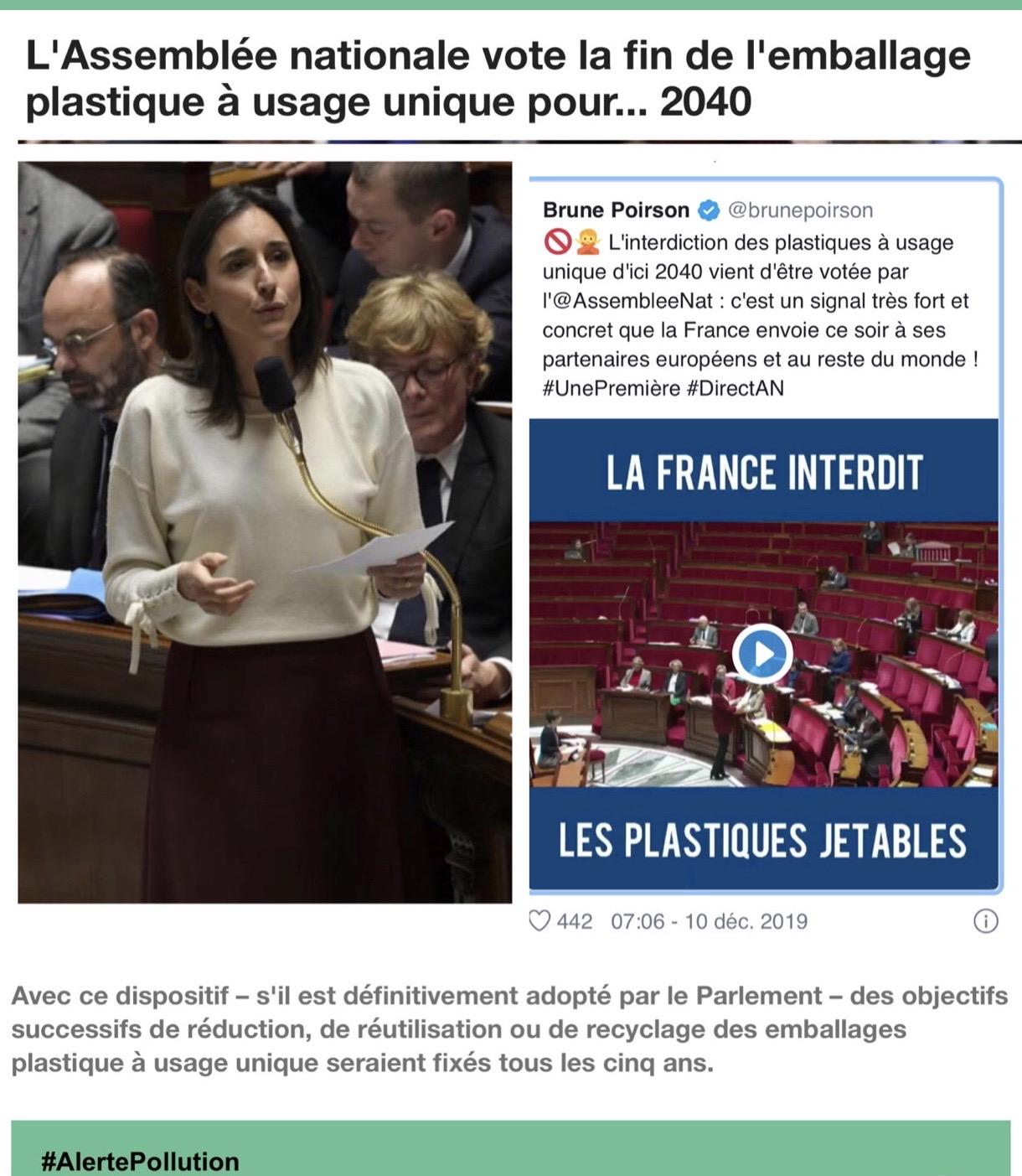 Plastique Retraite 20 ans Brune Poirson Pollution