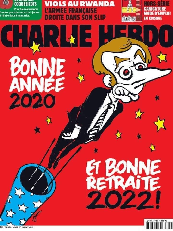 Voeux d'Emmanuel Macron 2020, UNE Charlie Hebdo, Voeux Président,
