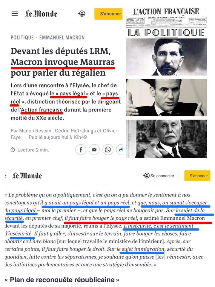 Macron Maurras Pays réel pays legal