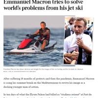 Ô ce titre! #TheTimes se moque: «Emmanuel Macron essaie de résoudre les problèmes du monde depuis son #JetSki »...